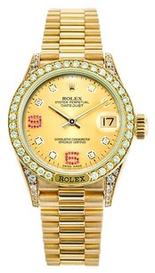 Rolex Rolex Datejust 18K Gold Custom Diamond ruby Ladies Presidential Watch