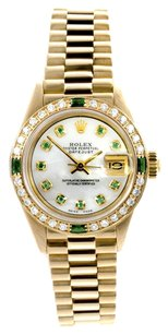 Rolex Rolex Datejust 18K Yellow Gold Custom Diamond and Emerald Ladies Presidential Watch