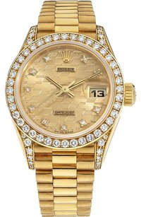 Rolex Rolex Datejust 18K Yellow Gold Custom Diamonds Unisex Presidential Watch