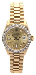 Rolex Rolex Datejust 18K Yellow Gold Custom Diamonds Presidential Ladies Watch