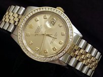 Rolex Rolex Datejust 2tone 18k Gold Stainless Steel W Diamond Dial 1.3ct Bezel 16013
