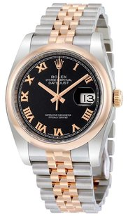 Rolex Rolex Datejust Black Roman Dial Stainless Steel and 18K Everose Gold Rolex Jubilee Watch 116201