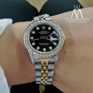 Rolex Rolex Datejust Ladies Steel 18k Yellow Gold Diamond Watch 69173