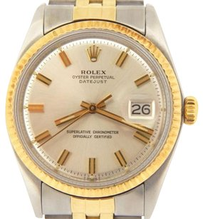 Rolex Rolex Datejust Mens 14k Yellow Gold Steel Watch Jubilee Band Silver Dial 1601