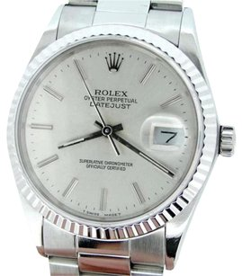 Rolex Rolex Datejust Mens Stainless Steel 18k White Gold Silver W Oyster Band 16234