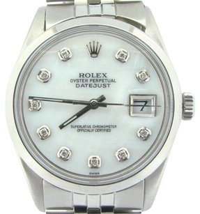 Rolex Rolex Datejust Mens Stainless Steel Jubilee Watch Domed White Mop Diamond Dial