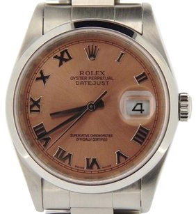 Rolex Rolex Datejust Mens Stainless Steel Oyster Band Salmon Roman Dial Watch 16200