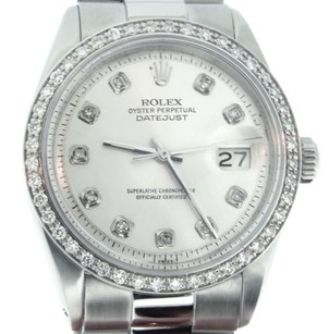 Rolex Rolex Datejust Mens Stainless Steel Silver Diamond With President Style Bracelet
