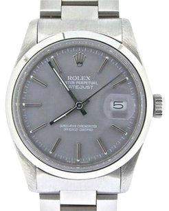 Rolex Rolex Datejust Mens Stainless Steel Watch Oyster Domed Bezel Gray Dial 16000