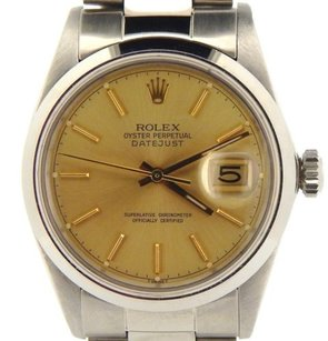 Rolex Rolex Datejust Mens Stainless Steel Watch Oyster W Gold Champagne Dial 16030