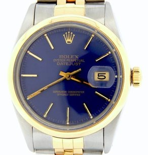 Rolex Rolex Datejust Mens Two-tone 18k Gold Stainless Steel Watch Jubilee Blue 16003