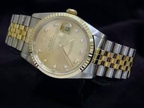 Rolex Rolex Datejust Mens Two-tone 18k Gold Steel Watch Factory Diamond Dial 16233