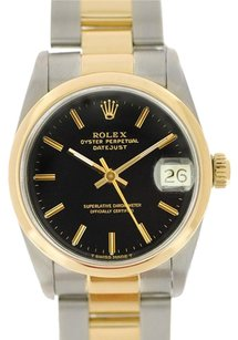 Rolex Rolex Datejust Midsize Two-Tone Black Stick Dial Watch 68243
