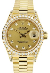 Rolex ROLEX DATEJUST 18K GOLD CUSTOM DIAMOND LADIES PRESIDENTIAL WATCH