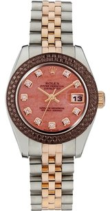 Rolex Rolex Datejust 18K Rose Gold and Stainless Steel Custom Diamond Ladies Watch