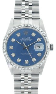 Rolex Rolex DateJust Stainless Steel Blue Diamond Dial Diamond Bezel Watch 16014