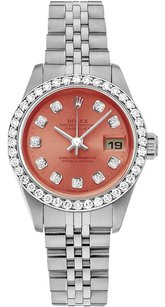 Rolex Rolex Datejust Stainless Steel Custom Diamond Salmon Dial Ladies Watch