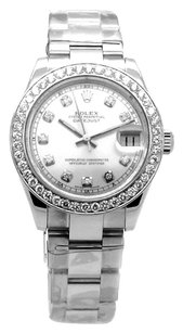 Rolex Rolex Datejust Stainless Steel Custom Diamond Silver Dial Unisex Watch