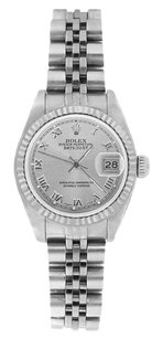 Rolex Rolex DateJust Stainless Steel Silver Roman Dial Watch 69174