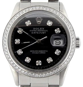 Rolex Rolex Datejust Stainless Steel Watch Oyster W Black Diamond Dial 1 Ct Bezel