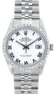 Rolex Rolex DateJust Stainless Steel White Roman Dial Diamond Bezel Watch