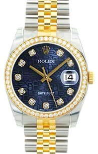 Rolex Rolex DateJust Two-Tone Blue Diamond Jubilee Dial Watch 16243