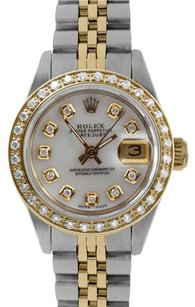 Rolex Rolex DateJust Two Tone Mother Of Pearl Diamond Dial & Diamond Bezel Watch 6917