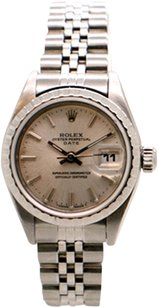 Rolex Rolex Date Stainless Steel Silver Dial Ladies Watch