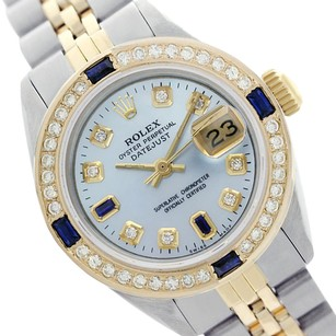 Rolex Rolex Ladies Datejust 69173 Light Blue Dial with Sapphire and Dia.