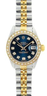 Rolex Rolex Ladies DateJust Two-Tone Blue Diamond Dial Diamond Watch 69173