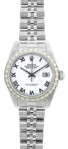 Rolex Rolex Ladies DateJust White Roman Diamond Bezel Watch 69174