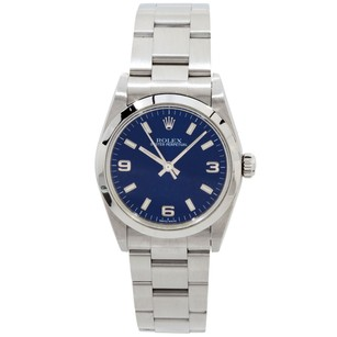 Rolex Rolex Ladies Oyster Perpetual Stainless Steel Blue Midsize Watch 77080
