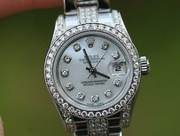 Rolex Rolex Ladies Stainless Steel Diamonds Band Diamond Bezel Dial Lugs Unworn