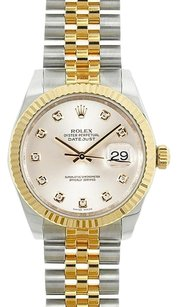 Rolex Rolex Ladies Two-Tone Midsize DateJust Silver Diamond Dial Watch