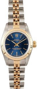 Rolex Rolex Ladies Two-Tone Oyster Perpetual Blue Dial No Date Watch 67193