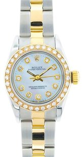 Rolex Rolex Ladies Two-Tone Oyster Perpetual Mother of Pearl Diamond Dial No Date Watch 67193