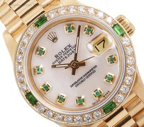 Rolex Rolex Lady President 18k Gold-White MOP Emerald Dial and Bezel 26mm