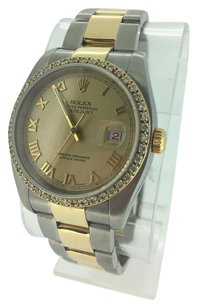 Rolex Rolex Large Mens 36mm 18K Gold Stainless Steel Roman Numeral Diamonds