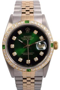 Rolex Rolex Men Datejust 2 Tone 18k-Green Vignette Diamond Dial-18k Diamond