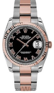 Rolex Rolex Men's 36mm Datejust Pink 18K Gold Roman Numeral Watch 116231