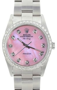 Rolex Rolex Men's Air King Stainless Steel Pink Mother of Pearl Dial Watch 14000
