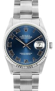 Rolex Rolex Men's DateJust Stainless Steel Blue Roman Dial Watch 16014