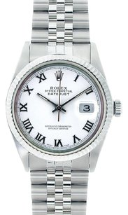 Rolex Rolex Men's DateJust Stainless Steel White Roman Dial Watch 16014