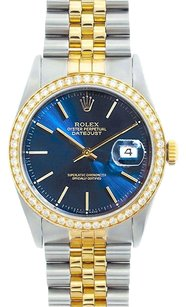 Rolex Rolex Men's DateJust Two-Tone Blue Stick Diamond Bezel Watch 16013