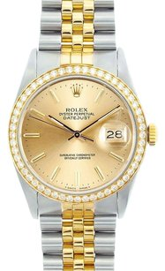 Rolex Rolex Men's DateJust Two-Tone Champagne Diamond Bezel Watch 16013