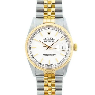 Rolex Rolex Men's DateJust Two-Tone White Stick Dial Watch 16233