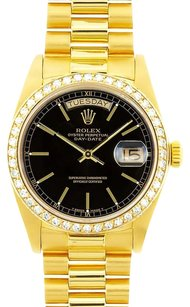 Rolex Rolex Men's Day-Date President Black Diamond Bezel Watch 18038