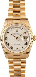 Rolex Rolex Men's Day-Date President White Pyramid Roman Dial Watch 118238