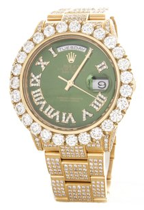 Rolex Rolex Men's Day-Date Yellow Gold Green Diamond President Watch 218238