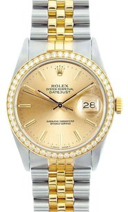 Rolex Rolex Men's Two-Tone DateJust Champagne Roman Diamond Watch 16013